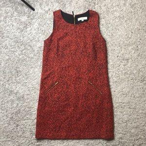 Loft red sleeveless tweed dress
